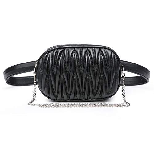 OKMPL Marke Plissee Taille Taschen Frauen Gürteltasche Kette Schulter Umhängetasche Pu-Leder Gürteltasche Für Frauen Brusttasche -