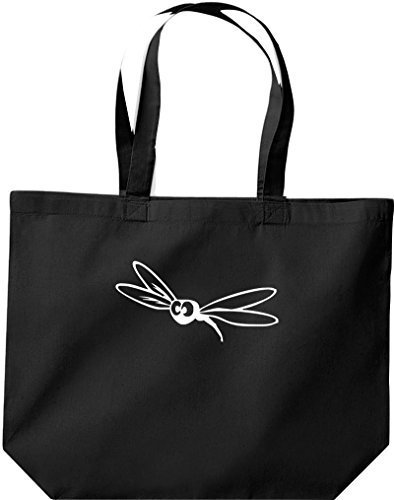grande borsa della spesa, SHOPPER FUNNY ANIMALE PAPILLON Insetto Nero