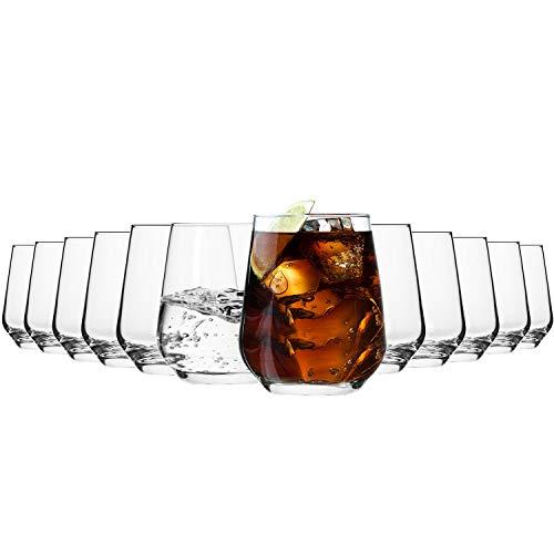Krosno Wassergläser Saftgläser Whiskygläser Trinkgläser | Set von 12 | 400 ML | Splendour Kollektion | Perfekt für zu Hause, Restaurants und Partys | Spülmaschinenfest und Mikrowellengeeignet