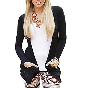 Women Coat,long Sleeve Backless Top Coat Outwear (S, Black) 1