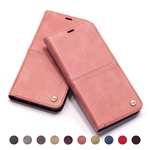 QIOTTI - iPhone Se I iPhone 5s I iPhone 5 Tasche Leder Case I RFID NFC Schutz I Ledertasche Kartenfach Standfunktion Echtleder Hülle Lederhülle Ledercase Handyhülle Echtledertasche in Rosa