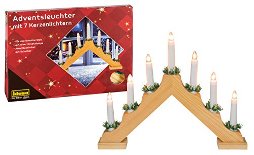 Idena 8582068 - Adventsleuchter aus naturfarbenem Holz mit 7 Kerzenlichtern, inklusive Ersatzlampe, Anschlusskabel mit Schalter, ca. 40 x 30 cm