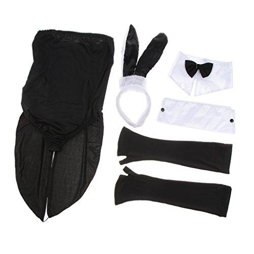 (Baoblaze Damen Häschen Kostüm Set Cosplay Kleidung Karneval Kostüm Hen Party Anzug mit Jumpsuit, Hasen Haarband, Handschuhe, Armmanschette und Krawatte,)