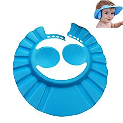 Futaba Adjustable Baby Bath Shower Cap With Ear Shield - Blue