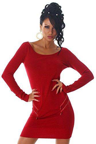 Jela London -  Vestito  - Astuccio - Basic - Maniche lunghe - Donna Rosso