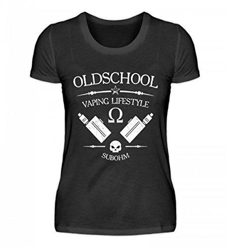 Shirtee Hochwertiges Damen Organic Oldschool Vaping Lifestyle - Vape On Vaper Dampfer dampfen Verdampfer Coil Watte Schwarz