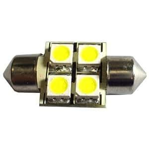 hqrp ampoule navette 31mm 4 leds ampoule led 6000k 10 30v. Black Bedroom Furniture Sets. Home Design Ideas