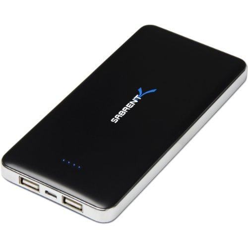 Sabrent Externe Akkus - 12000mAh Hohe Kapazitäts externer Unterstützungsladegerät - Power-Bank-Ladegerät mit Dual USB Port (PB-W120)