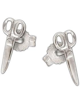 CLEVER SCHMUCK Silberne Ohrstecker kleine Schere 9 mm glänzend STERLING SILBER 925 im Etui