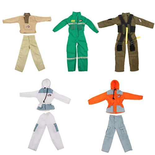 F Fityle 5 Sets Puppenkleidung Feuerwehrmann Kostüm Oberteile & Hose Anzug Für 1/6 Soldaten Puppen