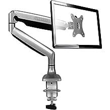 """ONKRON El mango giratorio y robusto de escritorio sobre el resorte de gas para los monitores hasta """"32"""" pulgadas y hasta 9 kg. Soporte ajustable en varios ejes con pivote G100 Silver"""