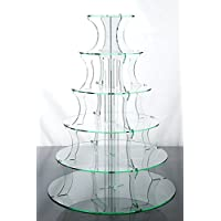 6 Tier Glass Effect Acrylic Cup Cake Stand for Weddings and Parties