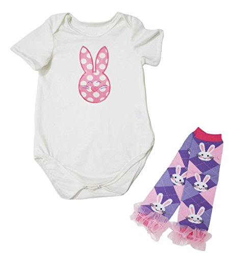 Easter Dress Dots Rabbit White Cotton Jumpsuit Bunny Leg Warmer Nb-18m (0-3 Months) (White Rabbit Kleinkind Kostüm)