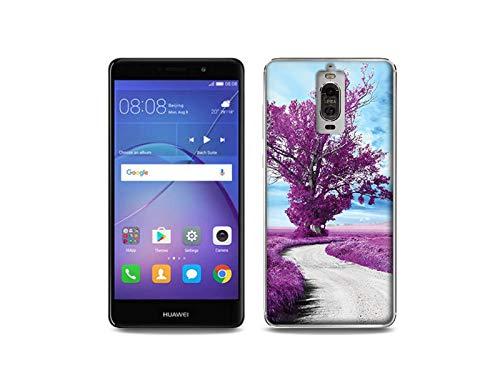 etuo Huawei Mate 9 Pro - Hülle, Silikon, Gummi Schutzhülle - Purpurfarbiger Baum