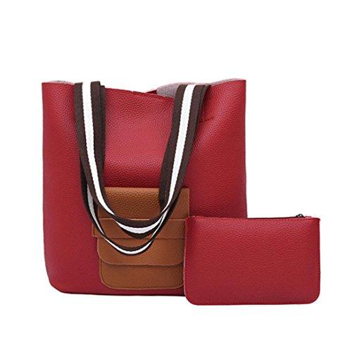 Borsa In Pelle Artificiale, Borsa A Benna Donna Wide Tracolla Borsa Borsetta Grande Capacità Crossbody Bag by Kangrunmy Rosso