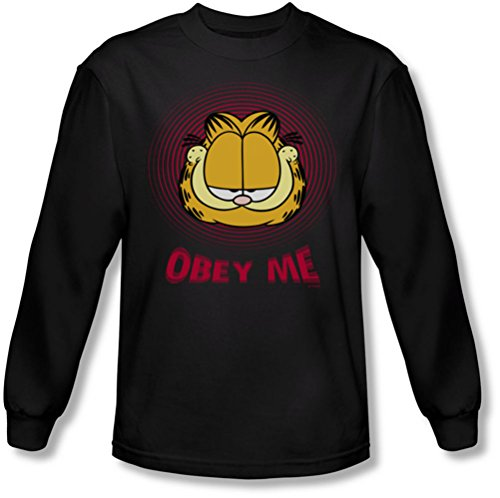 Garfield - Männer Obey Me Langarm-Shirt In Black Black