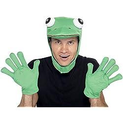 Smiffy's Smiffys-22164 Kit de rana, con capucha y guantes Color verde Tamaño único 22164