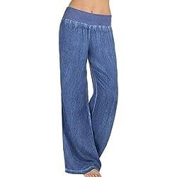Pantalones vaqueros mujer , ❤️Amlaiworld Vaqueros Pantalones de mezclilla de cintura alta de mujer baratos Pantalones Palazzo de pierna ancha Hippie Pantalón Elasticidad casual para mujer casual (Azul, XL)