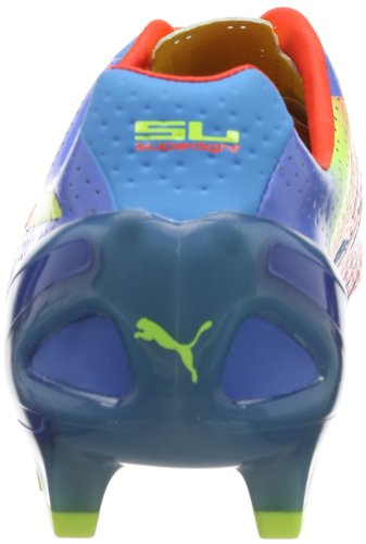 Puma Evospeed 1.2 Sl Fg, Chaussures de football homme Bleu - Blau (sharks blue-fluro peach-fluo yellow 01)