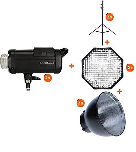Rollei HS Freeze 6 Double Kit - Professionelles Studioblitz Set mit 2 Akku-Blitzen, 2 Lampenstativen, 2 Octaboxen 90 cm und 2 Reflektoren, mit Bowens Anschluss