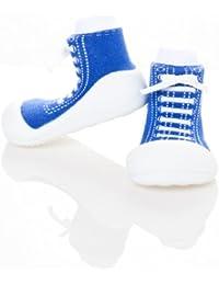 Bebé Niños Y Niñas Antideslizante Primera Walker Toddler Zapatos ergonómico de apoyo (grande (125mm) Talla UK 4,5), color azul