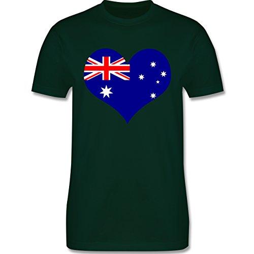 Länder - Herz Australien - Herren Premium T-Shirt Dunkelgrün