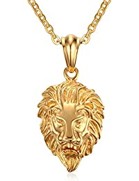 Vnox Collar pendiente de la cabeza del león del acero inoxidable de la joyería gótica de los hombres,oro,cadena libre