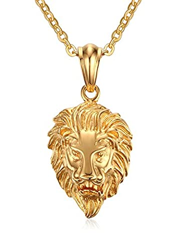 Vnox Pour des hommes Bijoux gothique en acier inoxydable Tête de lion collier pendentif en (Cavo In Gomma Collana)