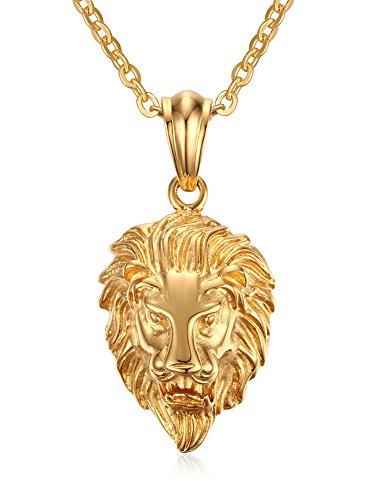 Vnox Gioielli gotici degli uomini in acciaio inox testa di leone d'oro della collana del pendente,la catena