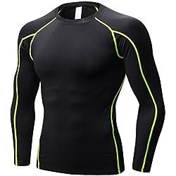 Yujeet Hombres Apretado Fitness Camiseta Deportiva Transpirable con Mangas Largas Elasticidad Compresión Correr Ropa De Entrenamiento como La Imagen3 XL