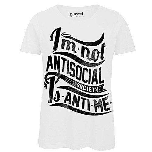 Chemagliette! t-shirt divertente donna maglietta con stampe frasi ironiche nerd antisocial tuned, colore: bianco, taglia: s