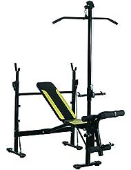 HOMCOM Banco de Pesas Ejercicios de Musculación 175x110x202cm Fitness con Respaldo Regulable Polea Alta Cuerda Color