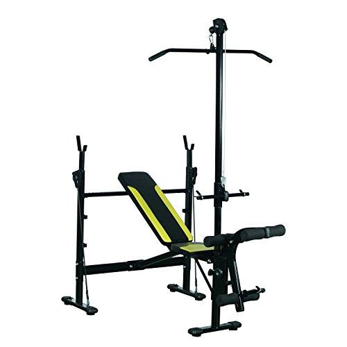 HOMCOM Banco de Pesas Ejercicios de Musculación 175x110x202cm Fitness con Respaldo Regulable Polea...