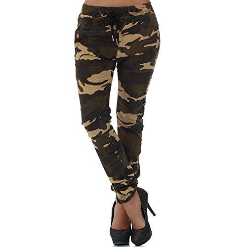 malucas Damen Boyfriend Chino Camouflage Haremshose Pump Pluder Hüfthose, Größe:40, Farbe:Mehrfarbig