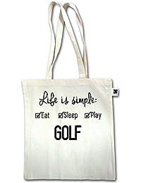 Golf - Life ist simple Golf - Unisize - Natural - XT600 - Fairtrade Henkeltasche / Jutebeutel mit langen Henkeln