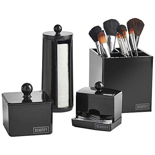 Acrylic Cotton Ball Holder (Beautify 4-teiliges Badezimmer Lagerung Ordnungssystem Set für Make-up, Accessoires & Pflegeprodukte)
