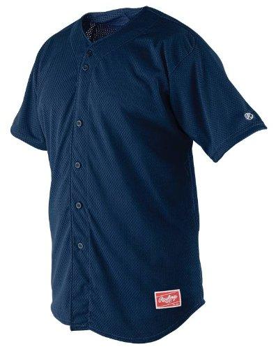 Rawlings RBJ167 Herren Jersey Full Button, Herren, RBJ167-N-90, Navy, Large -
