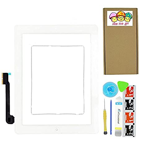 XIAO MO GU White Digitizer Touch Screen Outer Glass Panel for iPad 3 3rd Gen Generation A1416 A1403 A1430 with Home Button Flex Cable Assembly + Premium Tools + Adhesive Tape