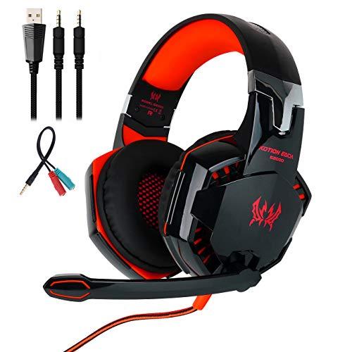 Mengshen Gaming-Headset - Mit Mikrofon, LautstäRkeregler Und Coolen Led-Leuchten - Kompatibel Mit PC, Laptop, Smartphone, PS4 Und Xbox One Controller, G2000 Red (Ps3 Gelbes Licht)
