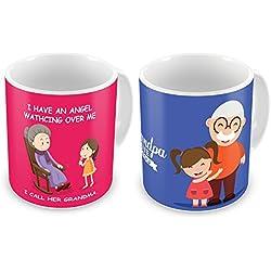 Indibni Angel Grandma & Grandpa I Love You Printed Pink & Blue Best Quality Coffee Mug set of 2 Home Décor Grandparents Gifts