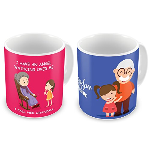 Indibni Angel Grandma & Grandpa I Love You Printed Pink & Blue Best Quality Coffee Mug set of 2 Home Décor Grandparents Gifts
