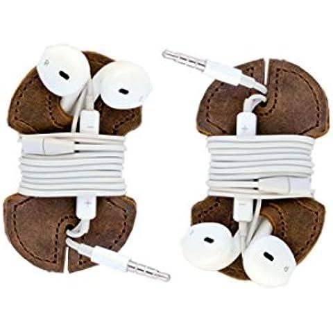 Paquete de 2 Cubiertas de Cuero Rustico Para Audífonos Hecho a Mano Por Hide & Drink :: Bourbon