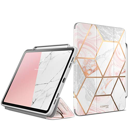 i-Blason Hülle für iPad Pro 12.9 Zoll 2018 [Cosmo] Schutzhülle Trifold Stand Cover Schale Bumper Case mit Auto Schlaf/Wach & Pencil Halter (Marmor)