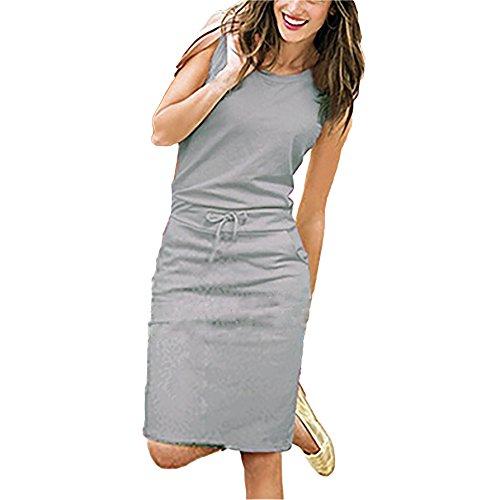 Damen Sommerkleider Ärmellos Strandkleider Rundhal Empirekleider Kleid Kleider A-Linie Röcke Shirtkleider Sweatkleider (Brautkleid Gothic Red)