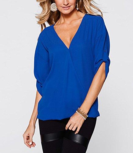 Donne Camicia Maglietta T-Shirt Estate Camicetta Top Off Spalle manga corta Casual Elegante V-collo Sapphire Blu