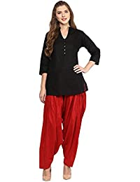 Pistaa Women's Cotton Short Black Kurta And Maroon Patiala Salwar Set With Plus Size