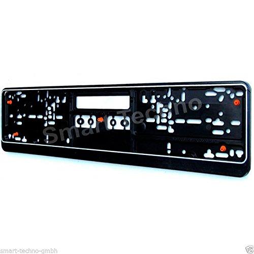 Kennzeichenschildhalter Nummernschildhalter schwarz mit Gummi, Anti-Vibration, Model 3306 -