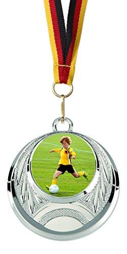 Junioren-folie (Verlag Reiner Kullack 10er-Set Medaillen »Fußball« für Kinder, Jugend und Junioren, mit 25 mm Sportfoto-Emblem (Folie, bunt))