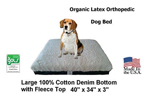 Bio-Zertifiziert Latex Orthopädische Pet bett 101,6x 86,4x 7,6cm (groß, blau denim mit Fleece Top)