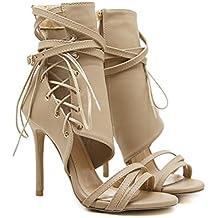 Liquidación! Sandalias de tacón alto para mujer Covermason Roman Hebilla Correa Zapatos Sandalias Sexy Sandalias Botines(37 EU, Caqui)